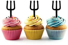 Trident Devil Pitchfork Silhouette Acrylic Cupcake Toppers 12 pcs       Decorate on cupcake, fruit or other desserts. It can be great addition to your party.     Cupcake Toppers for your fairy cakes, cupcakes and celebration cakes     Product friendly food safe     Made in the USA