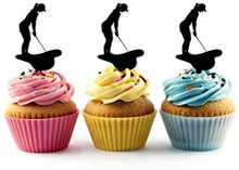 Golf Putt Silhouette Acrylic Cupcake Toppers 12 pcs       Decorate on cupcake, fruit or other desserts. It can be great addition to your party.     Cupcake Toppers for your fairy cakes, cupcakes and celebration cakes     Product friendly food safe     Made in the USA