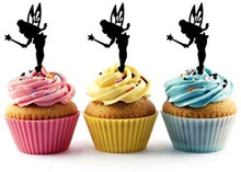 Tinkerbell Fairy Neverland Silhouette Acrylic Cupcake Toppers 12 pcs       Decorate on cupcake, fruit or other desserts. It can be great addition to your party.     Cupcake Toppers for your fairy cakes, cupcakes and celebration cakes     Product friendly food safe     Made in the USA