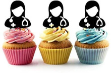 Female Doctor Physician Silhouette Acrylic Cupcake Toppers 12 pcs       Decorate on cupcake, fruit or other desserts. It can be great addition to your party.     Cupcake Toppers for your fairy cakes, cupcakes and celebration cakes     Product friendly food safe     Made in the USA