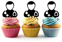 Male Doctor Physician Silhouette Acrylic Cupcake Toppers 12 pcs       Decorate on cupcake, fruit or other desserts. It can be great addition to your party.     Cupcake Toppers for your fairy cakes, cupcakes and celebration cakes     Product friendly food safe     Made in the USA