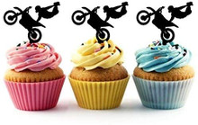 Extreme Motocross Freestyle Sport Silhouette Acrylic Cupcake Toppers 12 pcs       Decorate on cupcake, fruit or other desserts. It can be great addition to your party.     Cupcake Toppers for your fairy cakes, cupcakes and celebration cakes     Product friendly food safe     Made in the USA