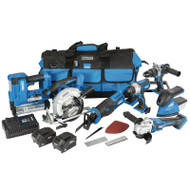 Draper 20v Jumbo Cordless Power Tool Kit, 7 Piece With Batteries