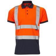 Supertouch Two Tone Hi-Vis Polo Shirt - Orange/Blue