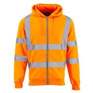 SuperTouch Hi-Vis Hooded Fully Zipped Sweatshirt - Orange