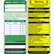 MEWP Tag Inserts Only (Pack of 10)
