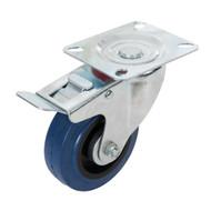 Braked Swivel Blue Elastic Rubber Castors