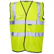 Standard Yellow Hi-Vis ID Vests With Valcro Fastening