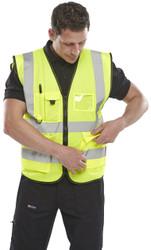 B-Brand Executive Hi-Vis Waistcoat Vest - Yellow
