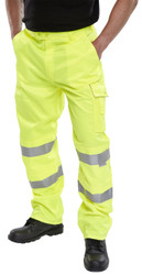 B-Brand Hi-Vis Yellow Poly Cotton Trousers