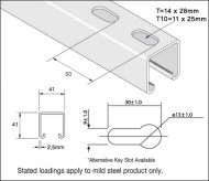 41x41 Mild Steel Galv Slotted Channel (3 Metre)