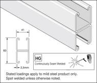 41x41 Double Mild Steel Galv Plain Channel (3 Metre)