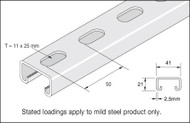 41x21 Mild Steel Galv Slotted Channel (3 Metre)