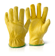 Click Quality Lined Yellow Drivers Gloves
