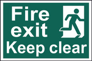 Fire Exit Keep Clear PVC Sign (300 x 200mm)