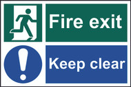 Fire Exit & Keep Clear PVC Sign (300 x 200mm)