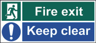 Fire Exit & Keep Clear Sign (600 x 200mm)