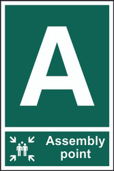 Alphabetical Assembly Point PVC Sign (200 x 300mm)