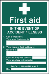 First Aid In The Event Of An Accident Sign (200 x 300mm)