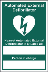 Automated External Defibrillator Nearest Sign (200 x 300mm)
