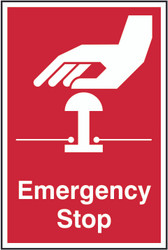 Emergency Stop PVC Sign (200 x 300mm)