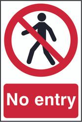 No Entry PVC Sign (200 x 300mm)