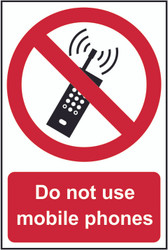 Do Not Use Mobile Phones PVC Sign (200 x 300mm)