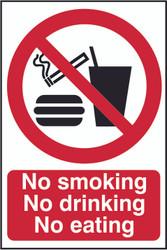 No Smoking, No Drinking, No Eating PVC Sign (200 x 300mm)