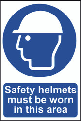 Safety Helmets Must be Worn In This Area PVC Sign (200 x 300mm)
