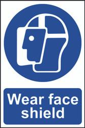 Wear Face Shield PVC Sign (200 x 300mm)