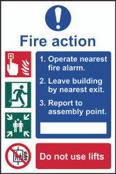 3 Step Fire Action Sign (200 x 300mm)