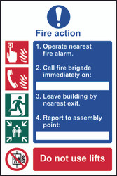 4 Step Fire Action Sign (200 x 300mm)