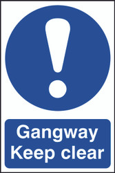Gangway Keep Clear PVC Sign (200 x 300mm)
