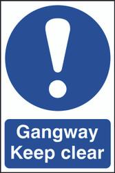 Gangway Keep Clear PVC Sign (200 x 300mm)