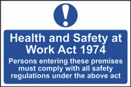 Health & Safety At Work Act 1974 PVC Sign (300 x 200mm)
