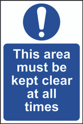 This Area Kept Clear Sign (200 x 300mm)
