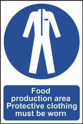 Food Production Area, Protective Clothing Worn PVC Sign (200 x 300mm)