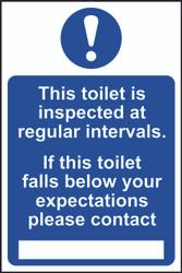 Toilet Falls Below Expected, Contact...PVC Sign (200 x 300mm)