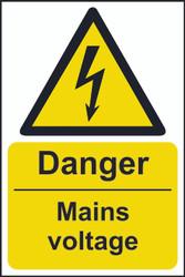 Danger Mains Voltage Sign (200 x 300mm)