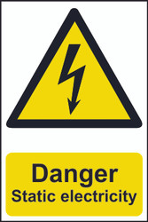 Danger Static Electricity PVC Sign (200 x 300mm)