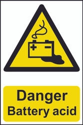 Danger Battery Acid PVC Sign (200 x 300mm)