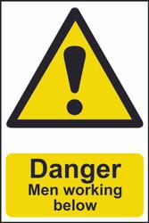 Danger Men Working Below PVC Sign (200 x 300mm)