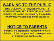 Warning To Pubic & Parents Sign (600 x 450mm)