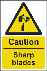 Caution Sharp Blades Sign (200 x 300mm)