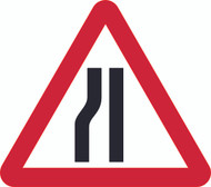 Road Narrows Left Triangle Temporary Road Sign
