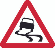 Slippery Road Surface Triangle Temporary Road Sign