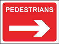 Pedestrians (With Arrow) Temporary Road Sign