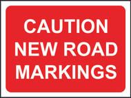 Caution New Road Markings Temporary Road Sign