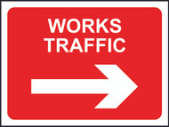 Works Traffic (With Arrow) Temporary Road Sign