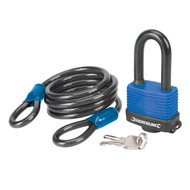 Looped Steel Security Cable & Weatherproof Padlock Set 2pce